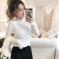 新年特惠金美希2019秋冬新款字母显瘦打底长袖T恤女内搭上衣韩版 白色 现货