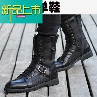 新品上市18新款冬季马丁靴韩版加绒潮靴男高帮皮靴英伦百搭内增高男靴子 升级款