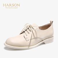 【 立减120】哈森2019秋季新款纯色软面牛皮革单鞋女 英伦风牛津皮鞋女HL96618