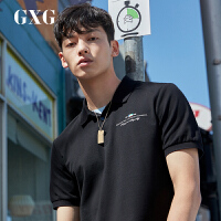 GXG男装 时尚保罗衫刺绣港风潮男短袖polo衫ins翻领夏