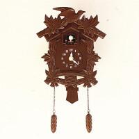 布谷鸟壁挂钟田园客厅挂钟咕咕钟创意时尚卡通儿童房小鸟报时钟表 14英寸