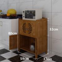 餐边储物柜微波炉架多层楠竹碗锅电饭煲架烤箱角架厨房置物架