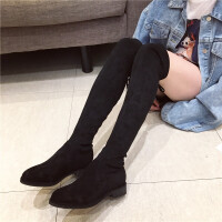 2018新款长筒靴子过膝靴韩版绒面后系带圆头低跟长靴女靴骑士靴潮