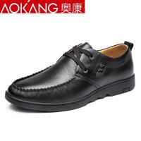奥康男鞋休闲皮鞋真皮软面透气英伦低帮系带潮流男士皮鞋