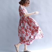 大码女装胖妹妹遮肚子显瘦连衣裙薄韩版文艺夏装新款碎花长裙