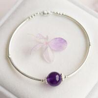 天然紫水晶转运珠手链女纯银饰品 黑曜石手镯本命年礼物中秋节礼物品
