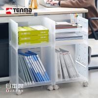Tenma天马株式会社日本进口可叠加收纳架办公室文件置物架书桌面整理架子儿童玩具收纳架毛绒娃娃车模可叠加透明展示架