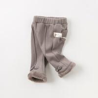 [2件4.5折:103.5]【加绒】davebella戴维贝拉冬季新款女童宝宝喇叭裤DBJ11909-2