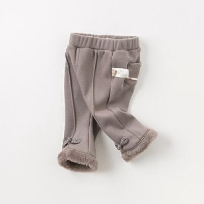 [领劵400减80]【加绒】davebella戴维贝拉冬季新款女童宝宝喇叭裤DBJ11909-2