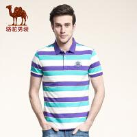 骆驼男装T恤 商务休闲翻领条纹 新款夏季短袖青年绅士棉氨T恤