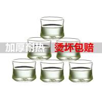 6只装耐热玻璃小茶杯透明品茗杯创意可堆叠杯竹节杯60ML耐热小玻璃杯