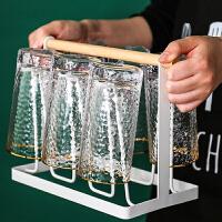 日式轻奢玻璃杯子水杯茶杯套装家用客厅喝水杯ins风啤酒杯