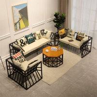 北欧简约铁艺沙发 懒人客厅休闲沙发小户型布艺办公沙发茶几组合 其他
