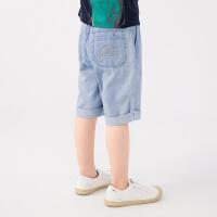 【秒杀价:119元】马拉丁童装男童裤子2020夏装新款艺术感图案印绣脚口翻边牛仔中裤