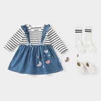 女童假两件连衣裙儿童春装婴儿公主裙宝宝裙子