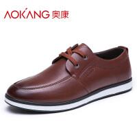 奥康男鞋休闲皮鞋男士韩版潮流英伦低帮板鞋
