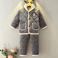 儿童珊瑚绒加厚睡衣宝宝小孩三层夹棉套装法兰绒男童女童冬季