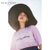 紫色t恤女短袖蕾丝拼接2019夏装新款chic时尚韩版打底衫太平鸟女