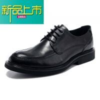 新品上市男鞋18春季新款正装皮鞋男系带英伦商务休闲皮鞋真皮婚鞋