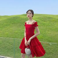 卡贝琳女夏季红色露肩一字肩连衣裙法国小众桔梗裙2019年新款流行裙子女夏气质连衣裙