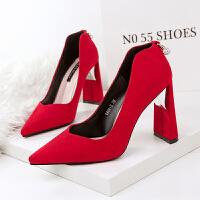 尖头高跟女鞋粗跟绒面浅口珍珠单鞋秋冬新款水钻红色婚鞋优雅串珠