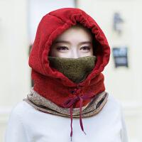 帽子女秋冬天韩版卫衣帽围脖一体帽加厚针织帽骑车保暖帽男套头帽