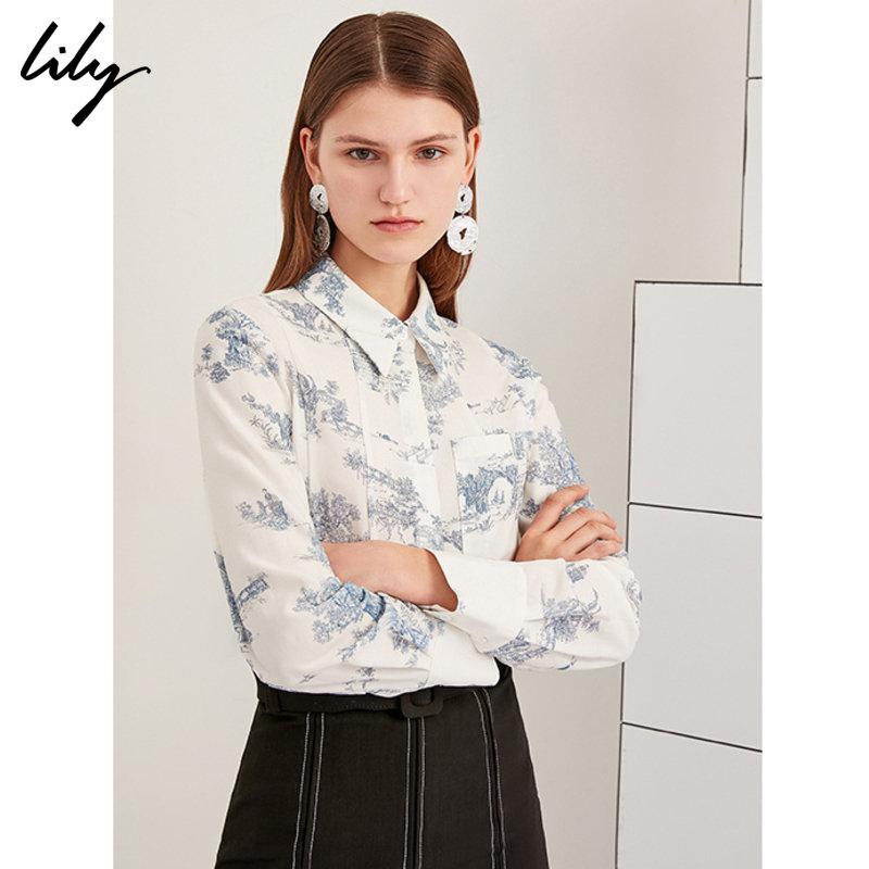 Lily2019夏新款女装复古素色宽松长袖莱赛尔衬衫119210C4106