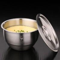 德国全304不锈钢碗 蒸蛋碗家用带盖甜品拉面碗大碗蒸饭汤盅炖盅厨房用品蒸蛋碗