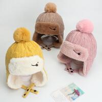 宝宝帽子秋冬季儿童护耳帽加绒保暖男童女童帽纯色雷锋帽冬天