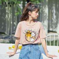 森�R短袖T恤女2020夏季新款萌趣可�圬�咪卡通插��上衣
