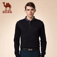 骆驼男装 新品冬款青年翻领打底衫 商务休闲小格子长袖T恤男