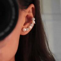 新款个性珍珠耳骨夹长款耳钉镶钻无洞耳夹女耳环耳饰