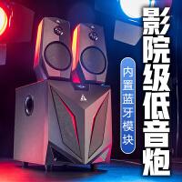 金河田K2��X音��_式低音炮家用客�d音箱大功率超重低音�{牙影�