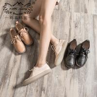 玛菲玛图小皮鞋女秋季2020新款真皮英伦牛津鞋低跟绑带平底鞋手工单鞋女秋3782B-19M