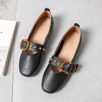 平底单鞋女新款夏软底船鞋女韩版时尚一脚蹬软皮浅口瓢鞋