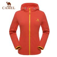 camel骆驼户外女款开胸抓绒衣 日常运动徒步防风帽保暖抓绒衣