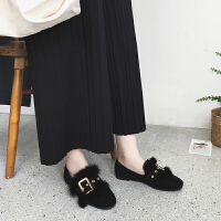 BANGDE豆豆鞋女冬2018新品韩版百搭女鞋秋毛毛鞋外穿平底鞋女加绒单鞋