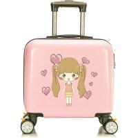 儿童拉杆箱女孩公主可爱旅行箱万向轮16寸卡通宝宝行李箱定制Logo 浅