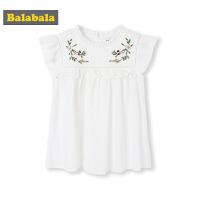 【3件4折价:59.96】巴拉巴拉童装儿童短袖衬衫中大童新款夏装女童ins绣花上衣女