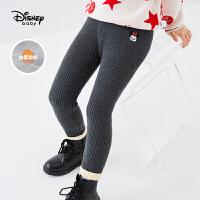 迪士尼童装女童加绒打底裤秋冬新款保暖裤时尚洋气毛线儿童长裤