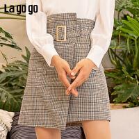 【5折价147】Lagogo2019春季新款裙子半身裙不规则港味格子裙高腰A字短裙女