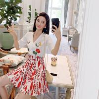 卡贝琳女高腰短裙套装女夏2019新款气质女神御姐范女装两件套洋气俏皮套裙