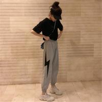 休闲套装女春秋2019新款时尚韩版宽松bf风裤子夏装学生运动两件套 954灰色 两件套