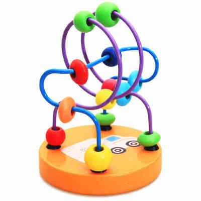 智力卡通小绕珠玩具 启蒙锻炼手眼协调 宝宝串珠益智儿童木制玩具
