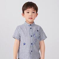 【6折价:221.4元】马拉丁童装男大童衬衫2020夏装新款洋气图案翻领儿童短袖衬衫