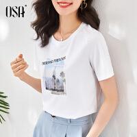 OSA2021年新款夏季白色圆领欧货t恤女士短袖字母印花体恤宽松上衣