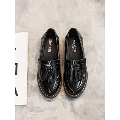 英伦风女鞋新款春秋季小皮鞋韩版黑色大码粗跟平底单鞋女
