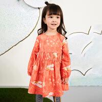【秒杀价:167元】马拉丁童装女小童连衣裙春装2020年新款洋气图案泡泡袖连衣裙