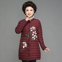 中老年棉衣女中长款妈妈冬装外套中年女40岁50新款羽绒棉袄子