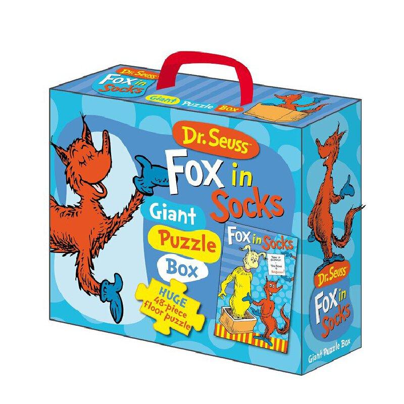 现货 英文原版 Floor Puzzle: Dr Suess Fox in Socks 穿袜子的狐狸 随身携带地板(盒装) 苏斯博士 随身携带地板(盒装)!young children can take it with them wherever they go!